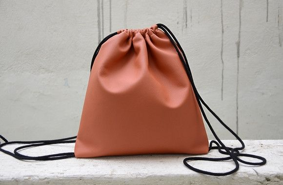 Backpacks – Orange Drawstring Backpack. – a unique product by Loutik on DaWanda