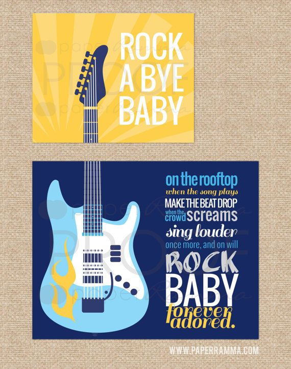 Rock a Bye Baby Art, Paperramma Exclusive // Rock and Roll Nursery // N-X48-2PS // Set of Two prints: one 8x10 and one 11x14 on Etsy, $42.00