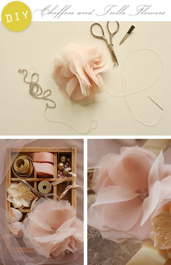 This beautiful tutorial for Chiffon and Tulle flowers is so inspirational.  I can imagine applying the project to so many things...such as dressing up a bland throw pillow, creating hair accessories, a feminine belt, romantic shoe clips, an everlasting bouquet and more.  Dont you just love the possibilities?!  Check out the full tutorial right here.