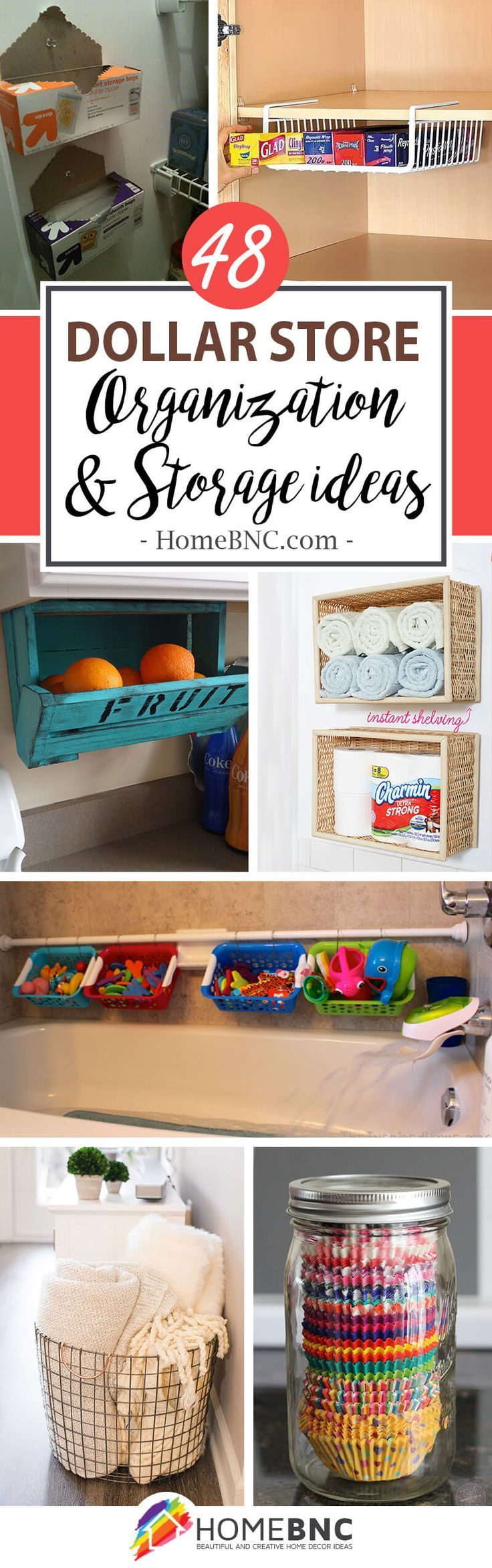 48 Creative Dollar Store Organization and Storage