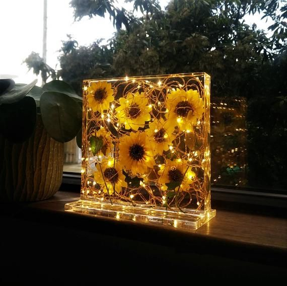 Sunflowers and resin light sculpture with a Cherry wood base *one of a kind