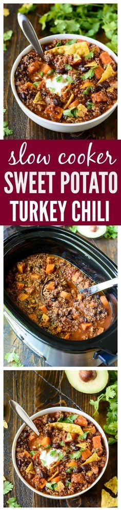 Slow Cooker Sweet Potato Turkey Chili with Quinoa and Black Beans. This is the best crock pot turkey chili ever!