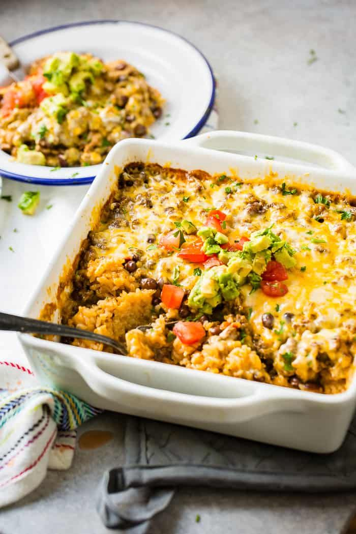 Cheesy Ground Beef Rice Mexican Casserole Video Oh Sweet Basil Recipe Beef And Rice Recipes With Beef And Rice Recipes