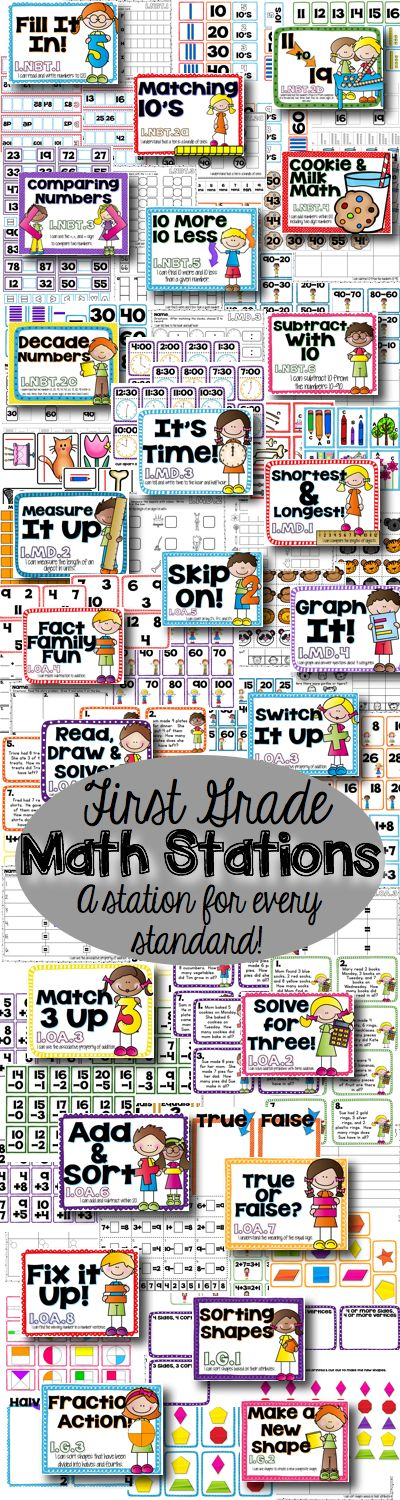 First Grade Common Core Math Stations for the Year