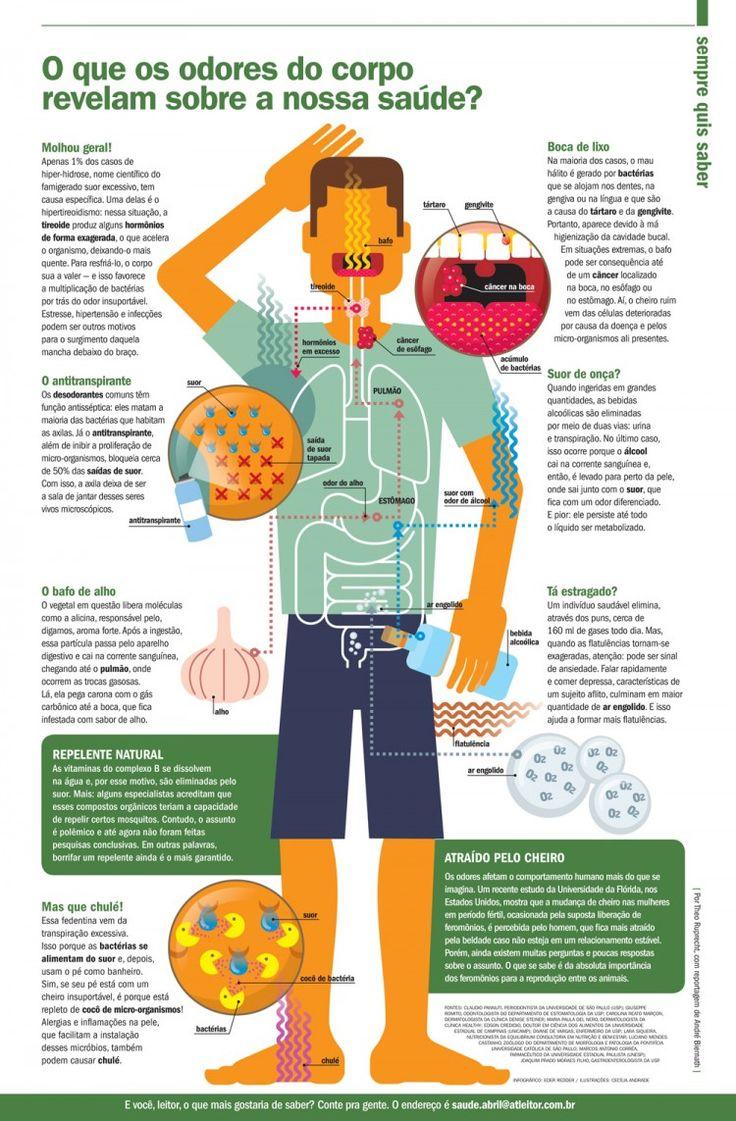 O que os odores do corpo revelam sobre a saúde, infográfico de Cecília Andrade para a Revista Saúde