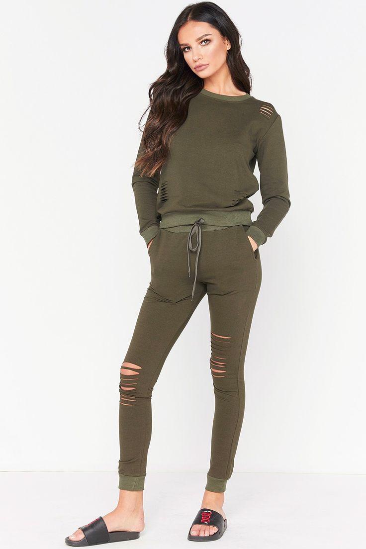 Pippa Khaki Distressed Loungewear Set