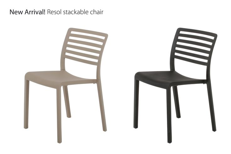 New in 2014!  Resol stackable chair. Black or sand - with protective UV-coating  Shop online at www.mandalay.dk