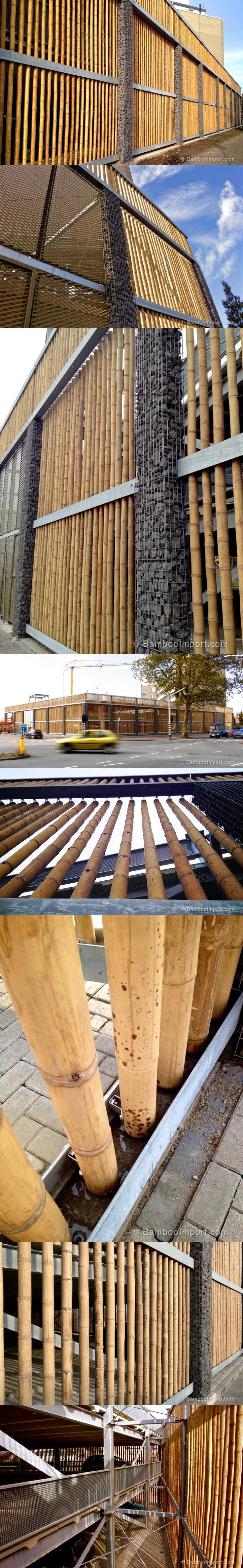 Bamboo Cladding for Parking Garage in The Hague, Holland.