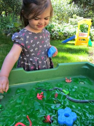 swamp sensory bin with gelatin, water and creatures- what fun!!!