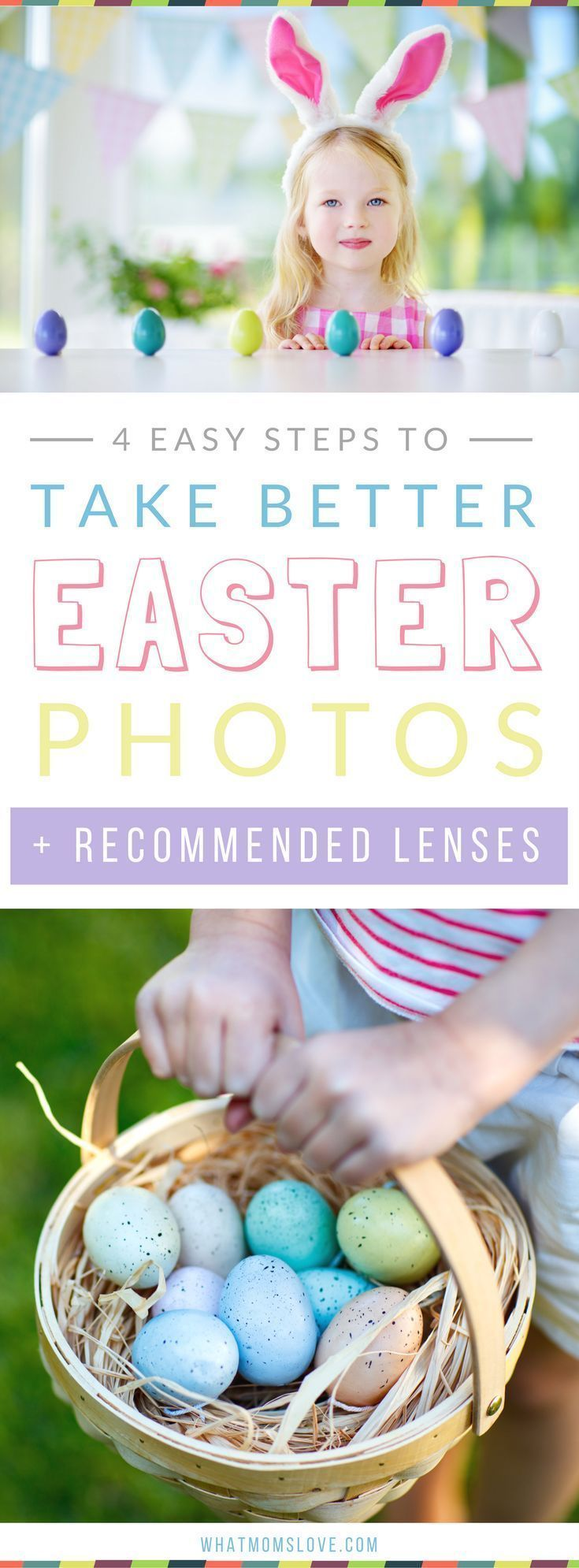 Easter Photography Tips and Tutorial to get that beautiful blurry background in your photos - perfect for Easter photos of your baby, toddler, big kid or family. Learn how to get a blurred background in 4 easy steps plus recommended lenses that are Canon and Nikon compatible. Use these steps for your pictures whether you use a DSLR or a point and shoot. With bonus tips to achieve this effect on your iPhone! #iphonetips