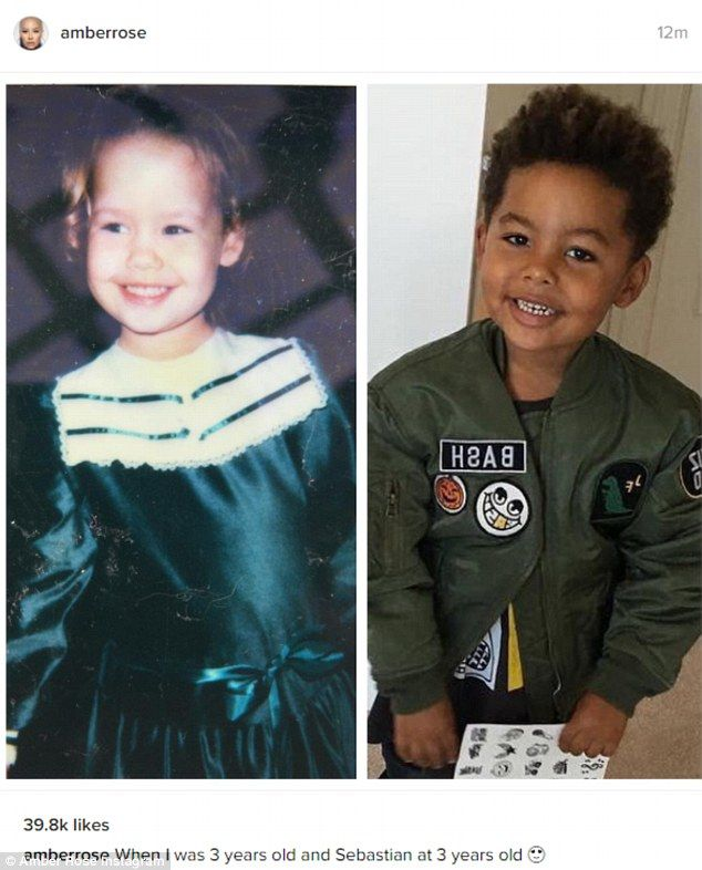 See the resemblance? Amber Rose focuses of family by sharing flashback photo from age three where she looks like her son Sebastian