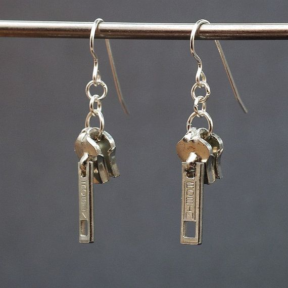 Found Object Jewelry- Upcycled Silver Zipper Pull Earrings