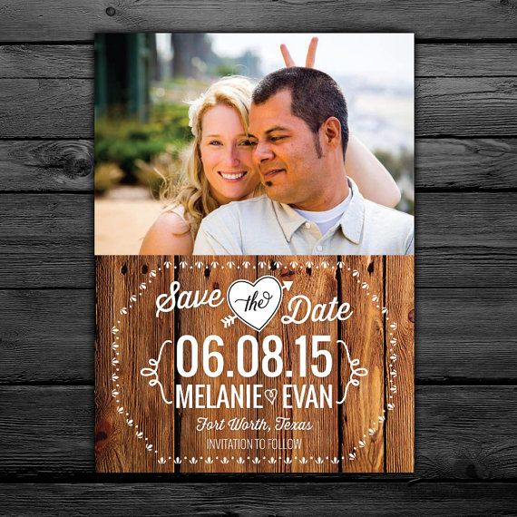 25 Rustic Save the Date Magnets or Cards customized with your photo -- Free customization in any color on Etsy, $12.99
