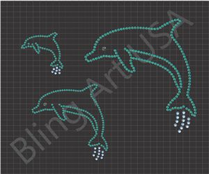 Dolphin Rhinestone Download Files Template Sea Creatures Bling SVG PLT EPS PDF Ocean Stone Animals Stencil Sea System Easy Mammal Sticky Flock