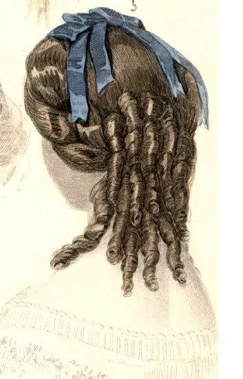 Late 1850s French evening/ball hairstyle. Beautiful braids on the side and ringlets in the back. Would be beautiful to recreate.