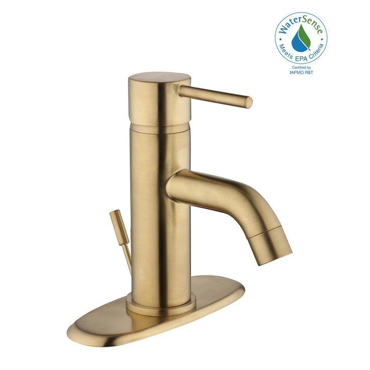 Glacier Bay Modern Single Hole Single-Handle Low-Arc Bathroom Faucet in Matte Gold-HD67732W-604405