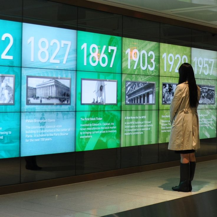 """The firm recently debuted a popular interactive timeline for the NYSE/Euronext site that highlights key events and policies over more than three centuries of stock exchange history. Filled with fluid, dynamic movement and synchronized """"ticker"""" animations, the Timeline Wall also has been installed, at colossal scale, in the Exchange's Manhattan headquarters, looping the animations through a vivid palette as part of the main entryway."""