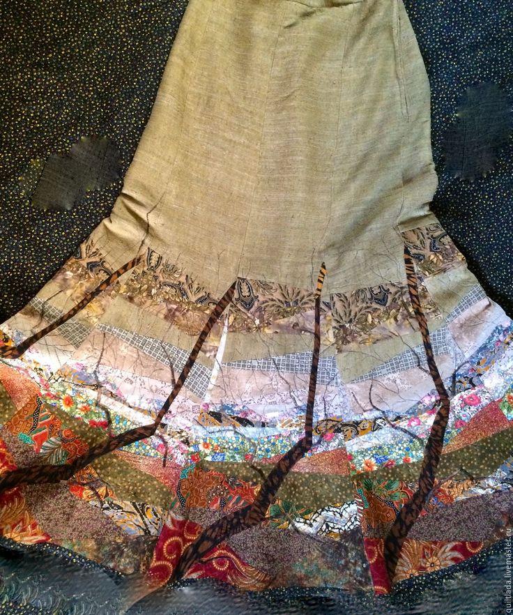 """Купить """"Жизнь деревьев"""" - Лоскутная юбка - хаки, пэчворк, лоскутная юбка, юбка, лоскутные юбки"""