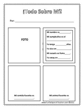Free All About Me Worksheet (Spanish)