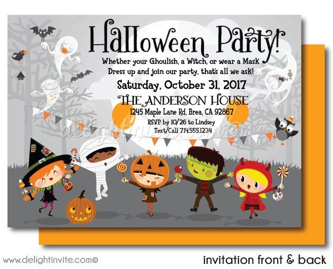Kid-Friendly Halloween Party Invitations, printed halloween invites for kids, Halloween costume party invites, halloween costume invites for children