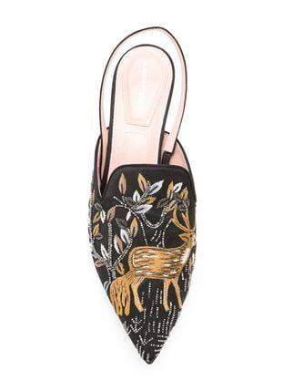 c8cd96350 Alberta Ferretti Sapato Mule Com Bordado Floral