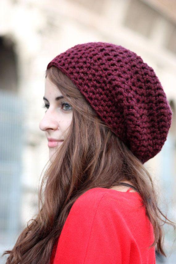 Slouchy Hat Women s Slouchy Beanie Hand Crocheted Hat by zukas, $28.00