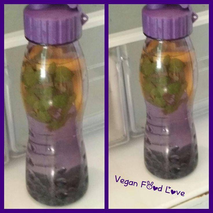 My first detox water , blue berrys , lemon, mint #vegan #veganfoodlove #detoxwater #detox #lemon #blueberry #mint