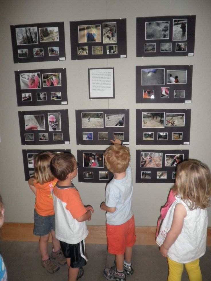 This was a project that took a few weeks.  We tied our classroom camera to each child's wrist and then followed the child as they took photos.  A display for each child was created containing a few photos they had taken as well as a larger copy of a photo of them photographing an area and the matching picture.  The project was displayed in the art gallery at the high school we were located on. The class went to visit their work numerous times during the few week showing.