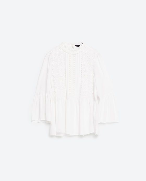 Image 8 of GUIPURE BIB FRONT BLOUSE from Zara