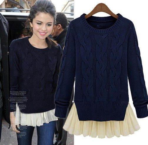 Moda otoño e invierno delgado manga larga de dos piezas suéter del suéter medio largo sandía roja para mujer suéter azul