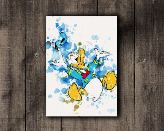 Disney Donald Duck Printable Disney Watercolor by CoffeeLoffe