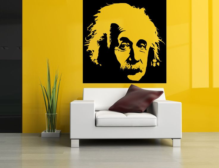 Wall Room Decor Art Vinyl Sticker Mural Decal Albert Einstein Face Large AS1350