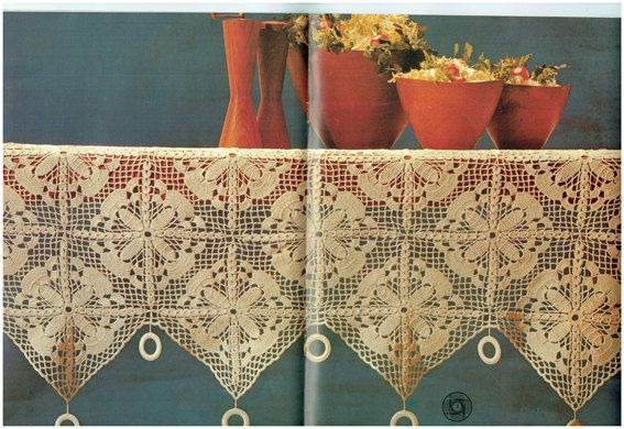 Genuine Vintage Lacy Floral Tablecloth Edging With Rings Crochet Pattern PDF
