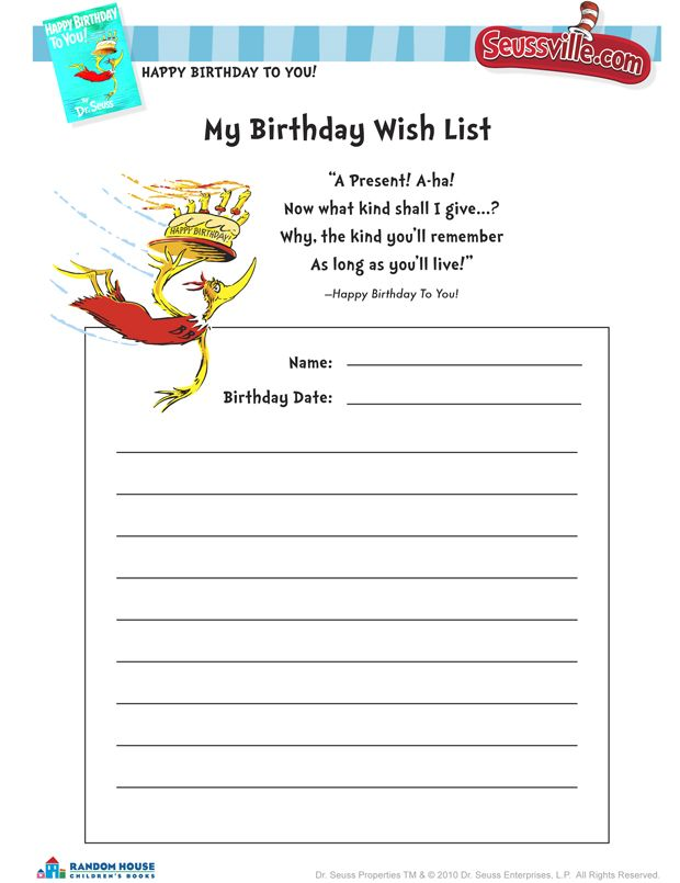 213 best Dr Seuss images on Pinterest Doctors, The doctor and - birthday list template free
