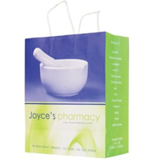 #pharmacybags #brightbags #newdesignbags Joyces changed from the navy and white colour scheme they had previously to a more modern Dark Blue and Vivid Lime Green.  When we send out this bag in sample packs we always find customers love it!