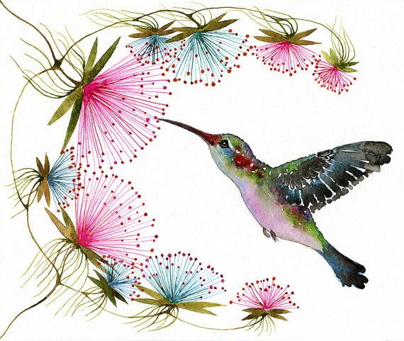 Hummingbird // SALE 3 for 2 // tiny bird art print, birds watercolor painting reproduction, size 10x8 (No.29c)
