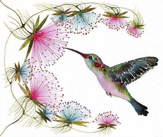Hummingbird - tiny bird art print, birds watercolor art, size 10x8 (No.29c)