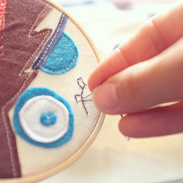 Having fun embroidering Pirate Gump's toothy frown  #wip