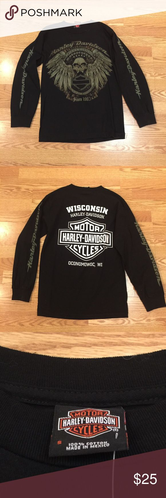 Harley Davidson long sleeve t shirt NWOT Size S MENS long sleeve t shirt. My husband bought this for me not realizing it was a MENS size. Harley-Davidson Tops