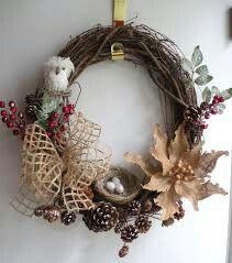 Twig owl wreath for winter