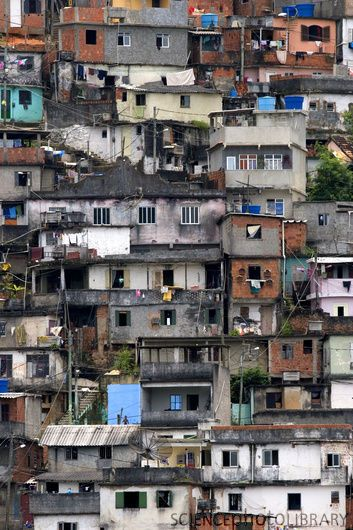 Close up of Brazilian hillside Favelas, which are a common sight throughout Brazil's major cities, are home to millions of urban poor and rural migrants who leave the countryside seeking jobs. Many of the slums are plagued by violence linked to drug trafficking.