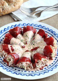 Pimientos rellenos de salmón, aguacate y cangrejo. Receta fresca de verano | Directo Al Paladar | Bloglovin'