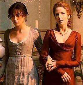Elizabeth Bennet and Caroline Bingley taking a turn around Netherfield Park's drawing room. Pride and Prejudice, 2005