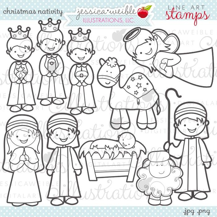 Christmas Nativity Stamps - JW Illustrations #Christmas coloring page, digital line art stamps #holiday