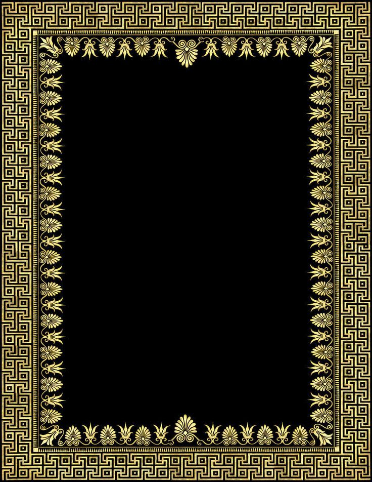 Ornate Gold Black Frame Clipart Graphic Design Marble