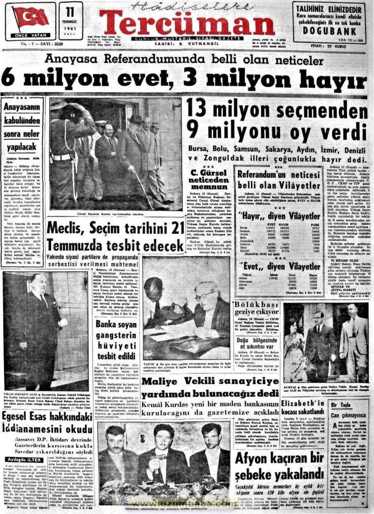 Tercüman gazetesi 11 temmuz 1961