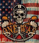 Vintage motoqueiro crânio emblema Tee gráfico — Vetor de Stock