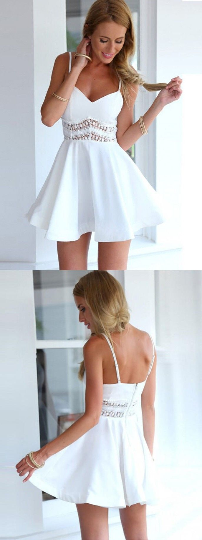 White Simple Homecoming Dress, Short  Prom Dress, Spaghetti Straps Party Dress