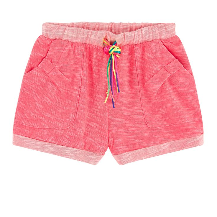 Flamed cotton jersey Pleasant to the touch Straight cut at the leg top Stitched turn-ups Patch pockets Elastic waistband Strings to tie on the front Neon colors Small logo patch on the heels - 30,00 €