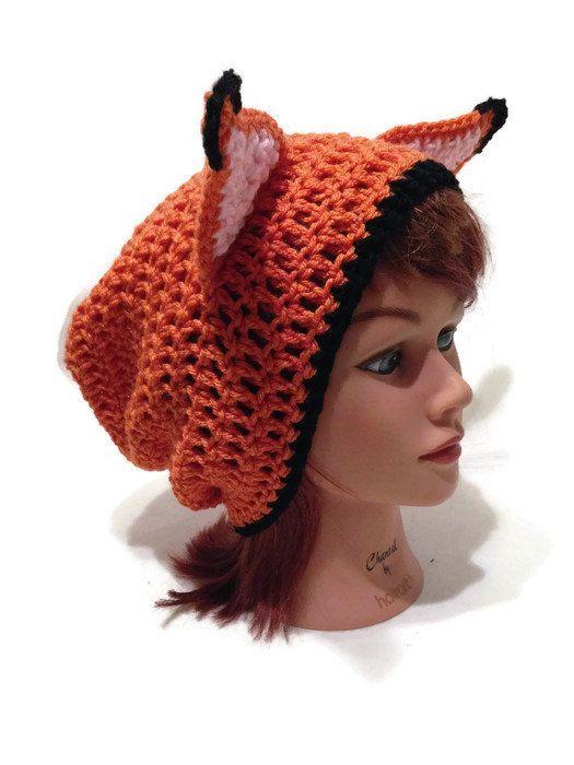 Orange Fox Hat Slouchy Fox Beanie Fox Ears by AddSomeStitches